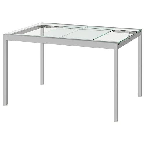 GLIVARP meghosszabbítható asztal átlátszó/krómozott 125 cm 188 cm 85 cm 74 cm
