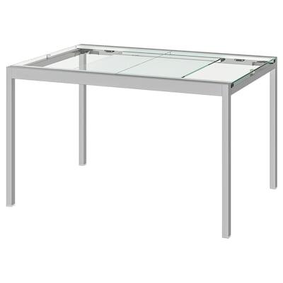 GLIVARP Meghosszabbítható asztal, átlátszó/krómozott, 125/188x85 cm