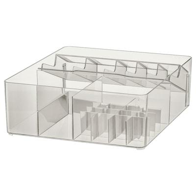 GODMORGON Doboz belső elosztókkal, füstszínű, 32x28x10 cm