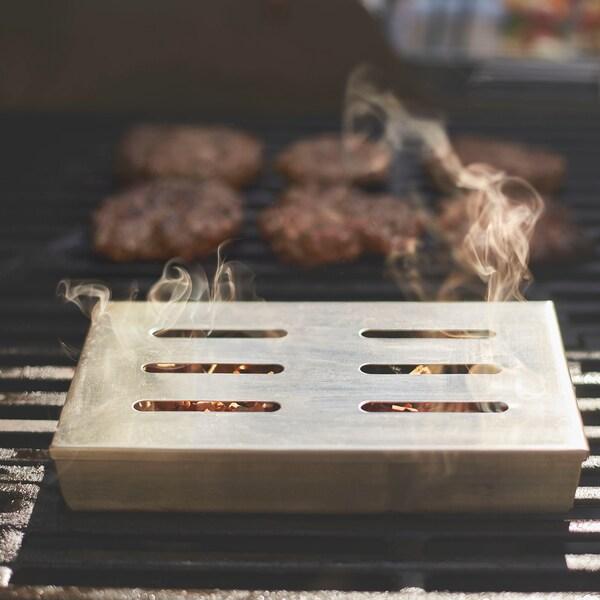 GRILLTIDER füstölő doboz grillezéshez rozsdamentes 21 cm 13 cm 3 cm