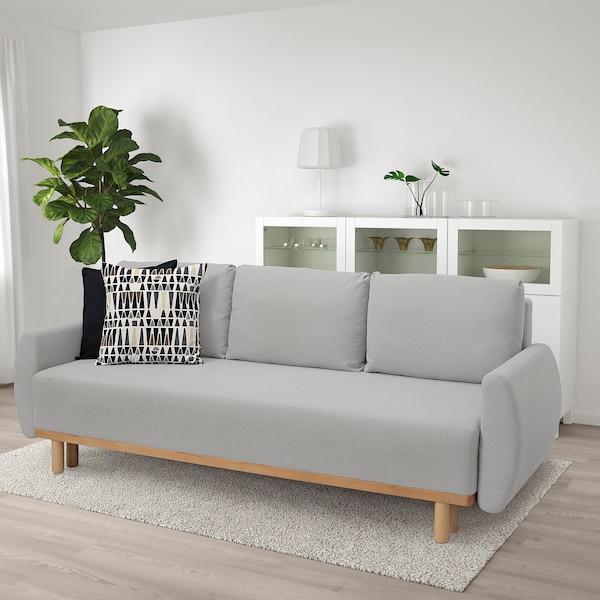 GRUNNARP 3 személyes kinyitható kanapé, világosszürke