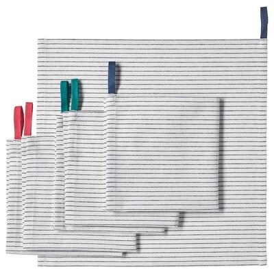 GRUPPERA Szalvéta, fehér/fekete, 33x33 cm
