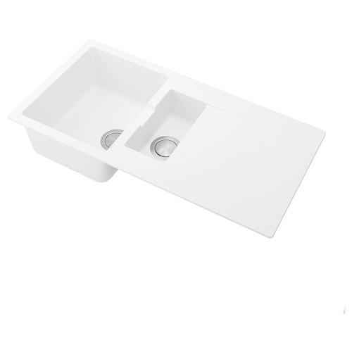 HÄLLVIKEN beép.sülly.mosog,1 1/2 med+szárító fehér/kvarckompozit 48.6 cm 98.6 cm 20 cm 35 cm 43 cm 30.1 l 12 cm 15 cm 32 cm 5.8 l 50 cm 100 cm 50 cm 20.8 cm
