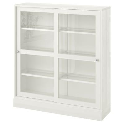 HAVSTA Üvegajtós szekrény lábazattal, fehér üveg, 121x37x134 cm