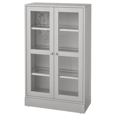 HAVSTA Üvegajtós szekrény lábazattal, szürke/átlátszó üveg, 81x37x134 cm