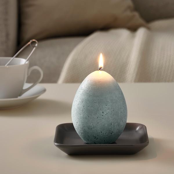 HEMBYGD Tömbgyertya, tojás formájú/szürke, 11.5 cm