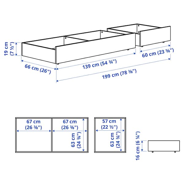 HEMNES Ágy alatti tárolódoboz, 2 db, fehérre pácolt, 200 cm