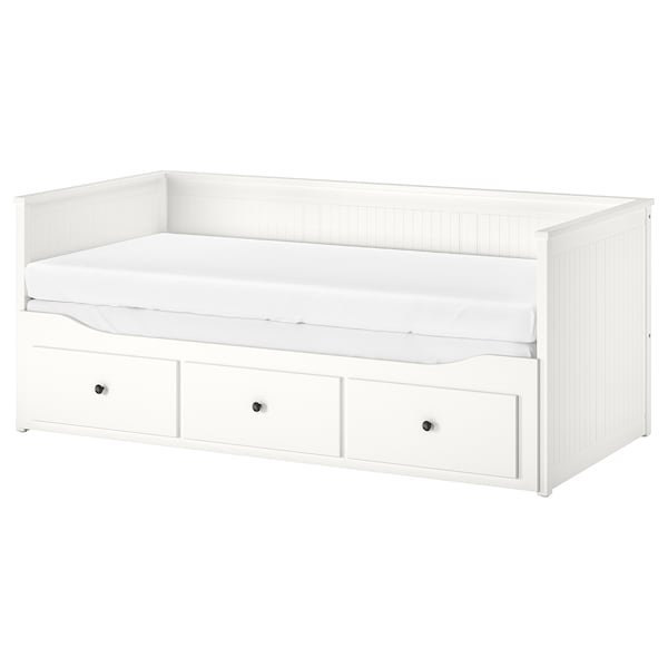 HEMNES kanapéágy 3 fiókkal,2 matraccal fehér/Moshult kemény 18 cm 209 cm 89 cm 83 cm 55 cm 70 cm 168 cm 202 cm 200 cm 80 cm