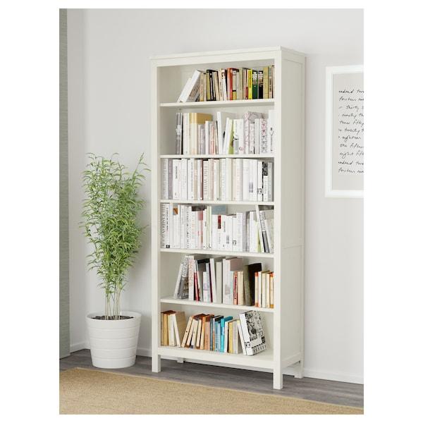 HEMNES Könyvespolc, fehérre pácolt, 90x197 cm