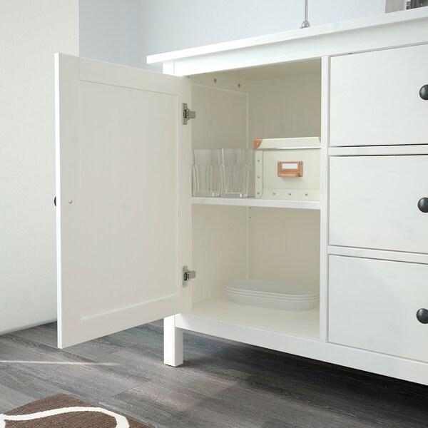HEMNES Tálalószekrény, fehérre pácolt, 157x88 cm