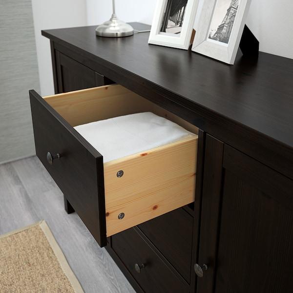 HEMNES Tálalószekrény, fekete-barna, 157x88 cm