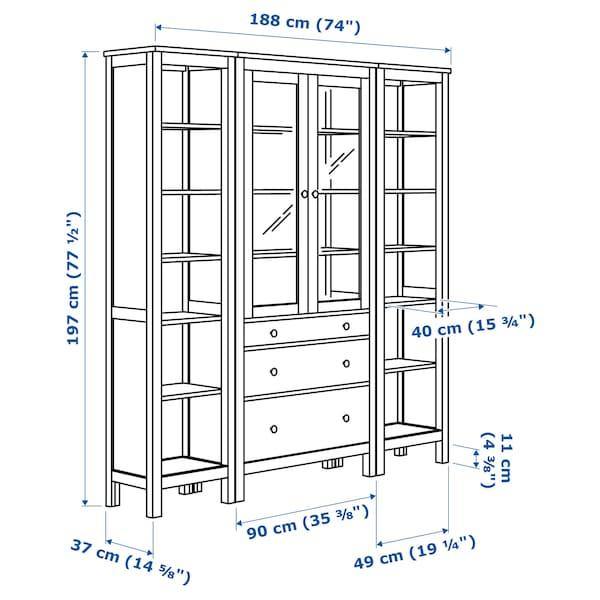 HEMNES Tárolókomb.ajtókkal/fiókokkal, fehér pácolt/átlátszó üveg, 188x197 cm