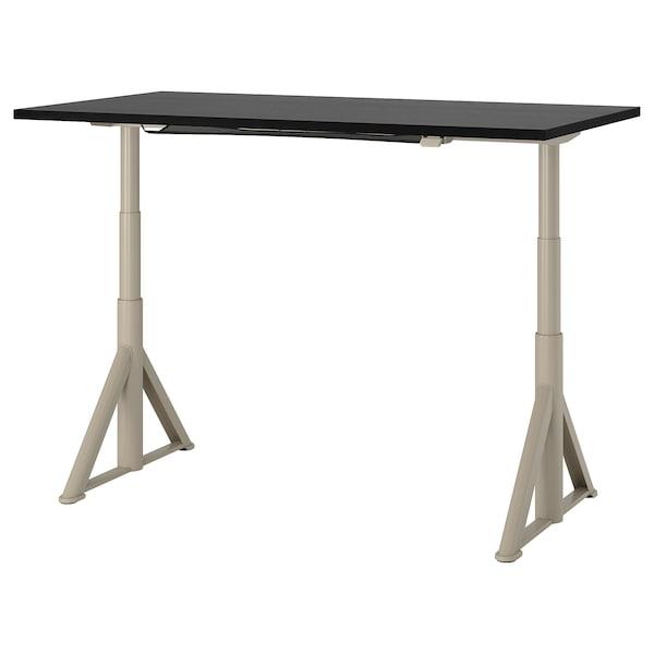 IDÅSEN Asztal ülő-/állómunkához, fekete/bézs, 160x80 cm