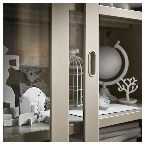 IDÅSEN Szekrény üveg tolóajtókkal, bézs, 120x140 cm
