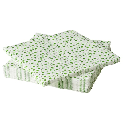 INBJUDEN Papírszalvéta, fehér/zöld, 33x33 cm