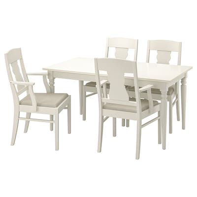 INGATORP / INGATORP asztal és 4 szék fehér 155 cm 215 cm 87 cm 74 cm