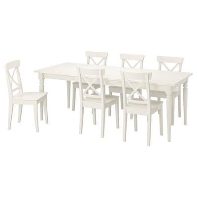 INGATORP / INGOLF Asztal+6szék, fehér/fehér, 155/215 cm