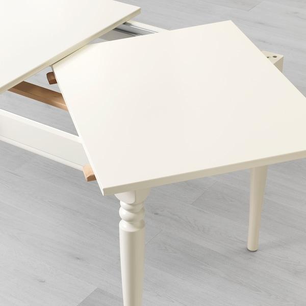 INGATORP / INGOLF Asztal és 4 szék, fehér/Hallarp bézs, 155/215 cm