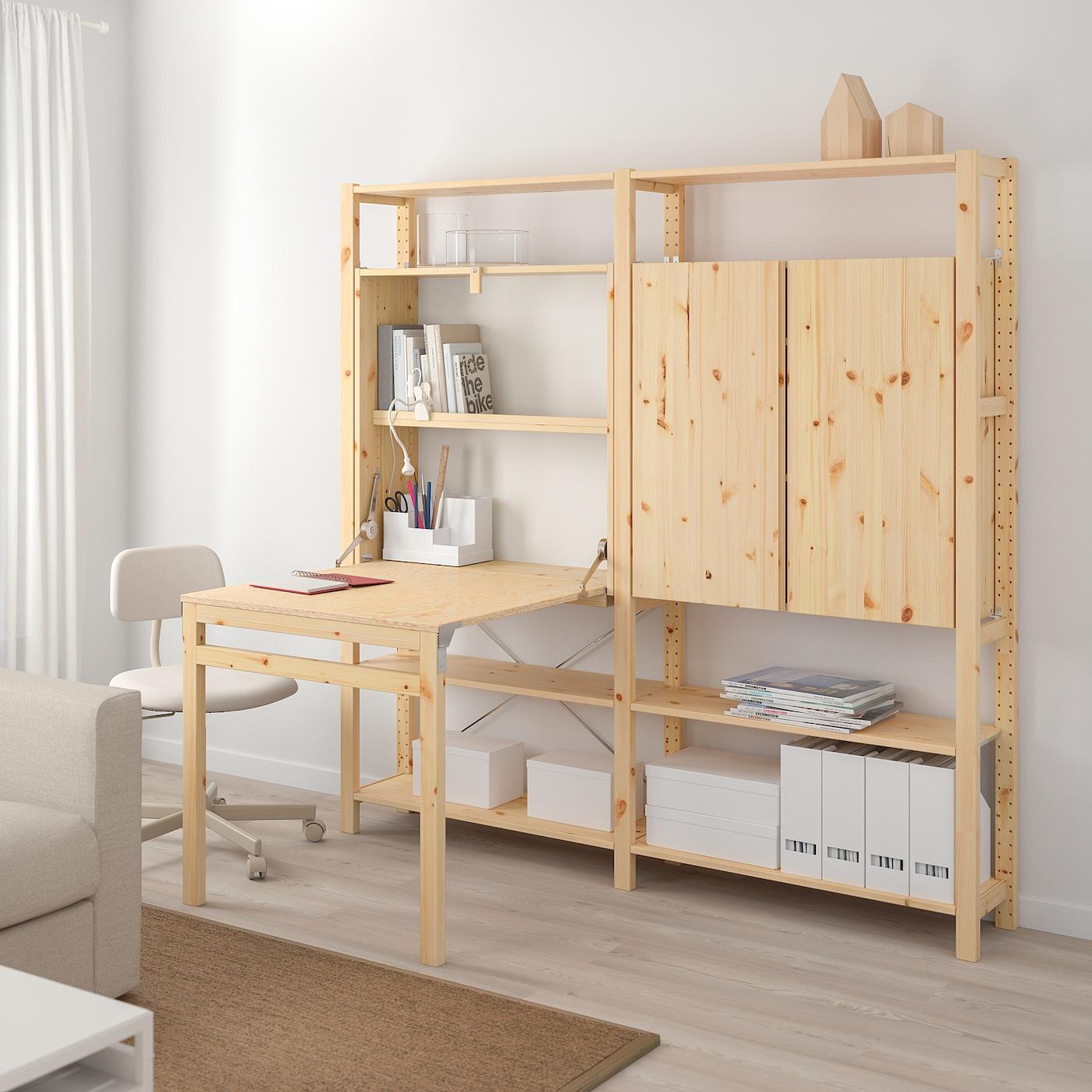 IVAR 3 részestároló+összecsukh asztal fenyő IKEA