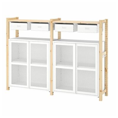 IVAR 2 rekesz/polcok/szekrények fenyő/fehér háló 175 cm 30 cm 124 cm
