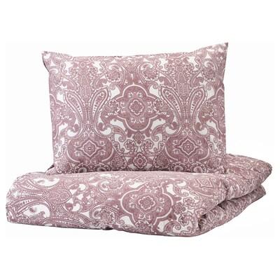 JÄTTEVALLMO Ágyneműhuzat-garnitúra, fehér/sötét rózsaszín, 150x200/50x60 cm