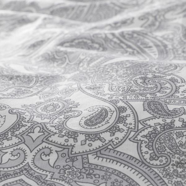 JÄTTEVALLMO Ágyneműhuzat-garnitúra, fehér/szürke, 200x200/50x60 cm