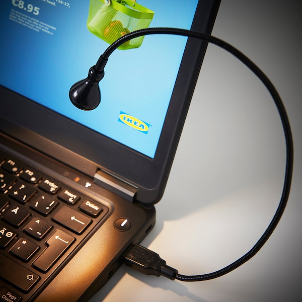 JANSJÖ LED-es USB lámpa, fekete