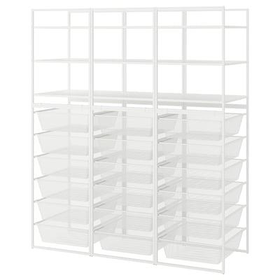 JONAXEL Nyitott tárolókombináció, fehér, 148x51x173 cm