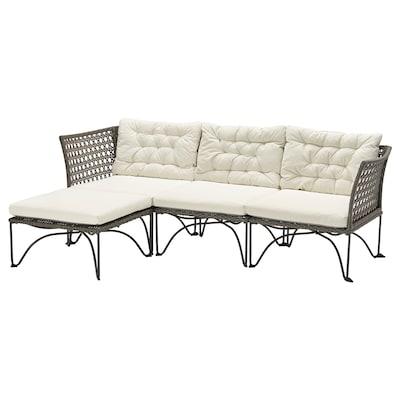 JUTHOLMEN 3 üléses elemes kanapé, kültéri, sszürke/Kuddarna bézs, 210x73/138 cm