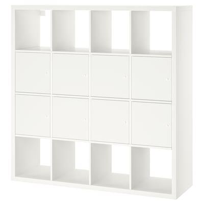 KALLAX Polcos elem, 8 betéttel, fehér, 147x147 cm