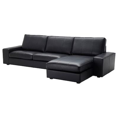 KIVIK 4 személyes kanapé, fekvőfotellel/Grann/Bomstad fekete