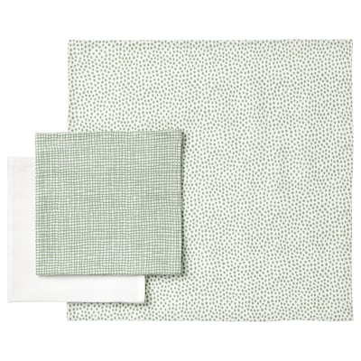 KLÄMMIG arctörlő kendő zöld/fehér 30 cm 30 cm 3 darabos