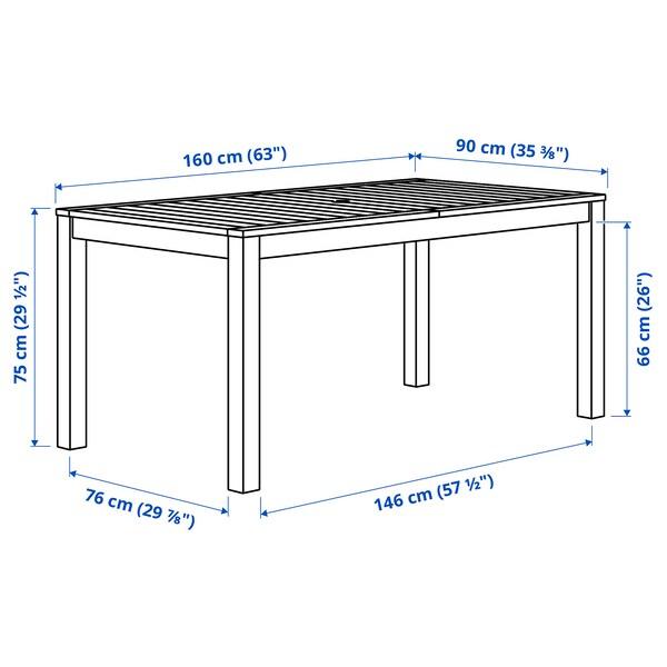 KLÖVEN Asztal, kültéri, fekete-barna, 160x90 cm
