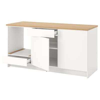 KNOXHULT Alsószekrény ajtókkal és fiókkal, fehér, 180 cm