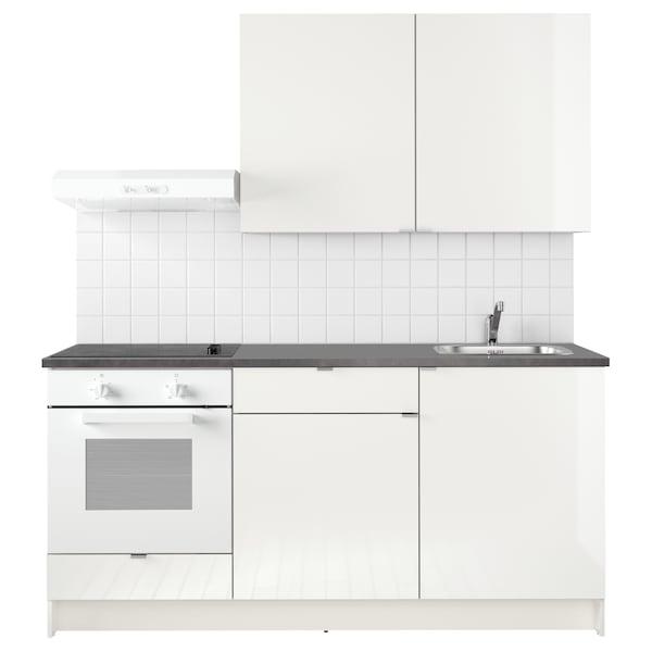 KNOXHULT Konyha, mfényű fehér, 180x61x220 cm
