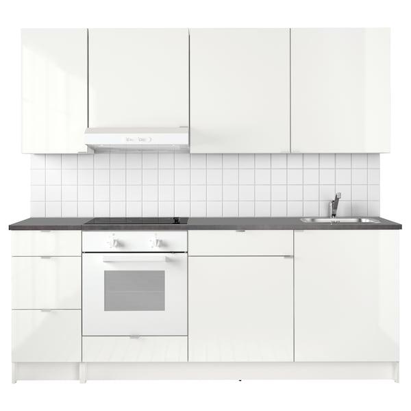KNOXHULT Konyha, mfényű fehér, 220x61x220 cm