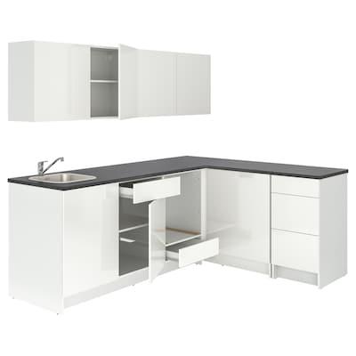 KNOXHULT Sarok konyha, mfényű/fehér, 243x164x220 cm