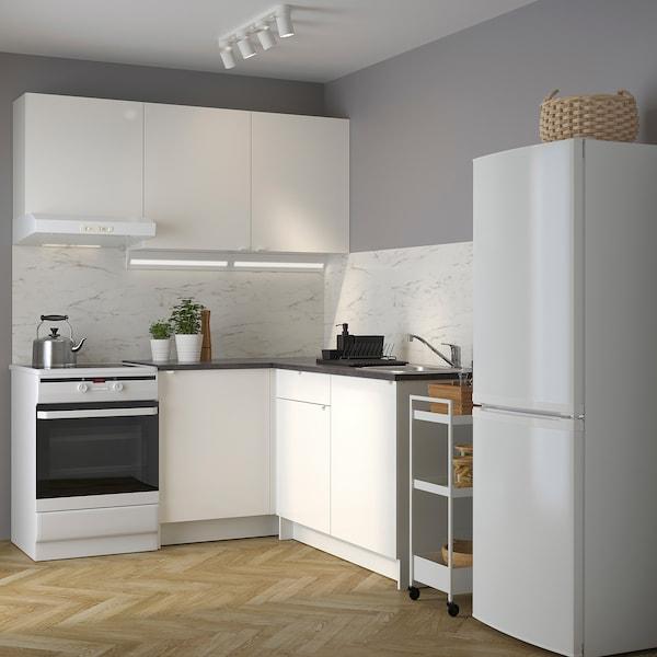 KNOXHULT Sarok konyha, mfényű/fehér, 182x183x220 cm