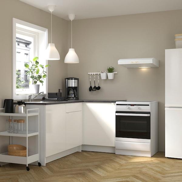 KNOXHULT Sarok konyha, mfényű/fehér, 183x122x91 cm
