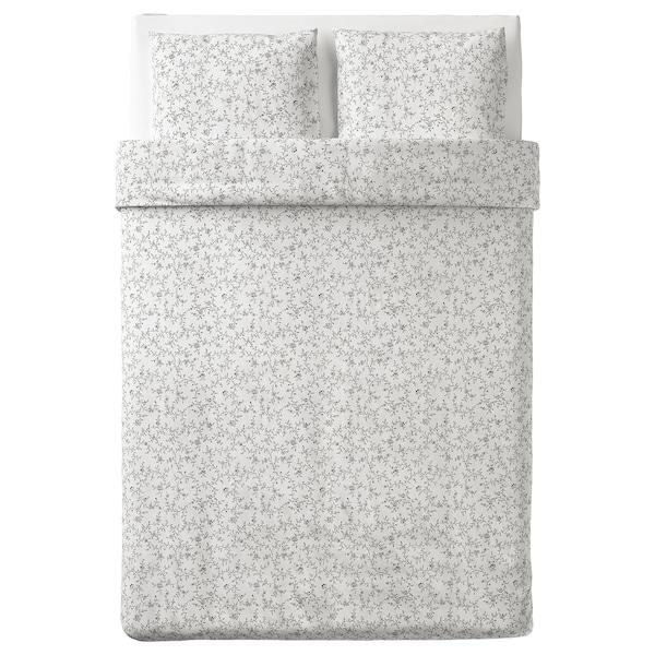KOPPARRANKA Ágyneműhuzat-garnitúra, fehér/sszürke, 200x200/50x60 cm