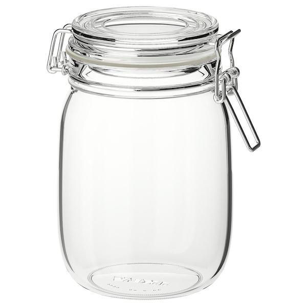KORKEN Üvegedény+tető, átlátszó üveg, 1 l