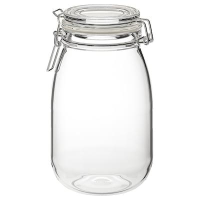 KORKEN Üvegedény+tető, átlátszó üveg, 1.8 l