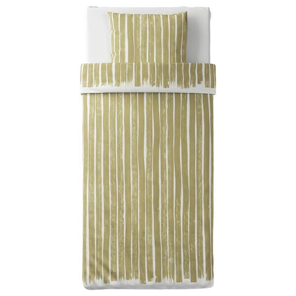 KRANSRAMS Ágyneműhuzat-garnitúra, fehér/zöld, 150x200/50x60 cm