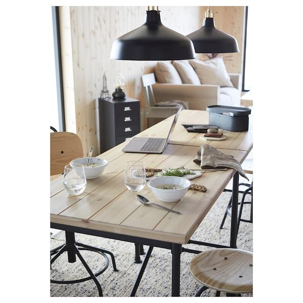 KULLABERG Íróasztal, fenyő/fekete, 110x70 cm