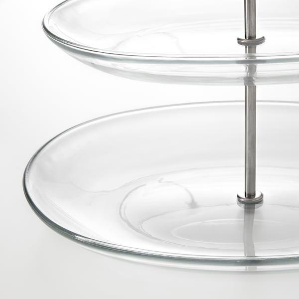 KVITTERA Szervírozótál,3 emeletes, átlátszó üveg/rozsdamentes
