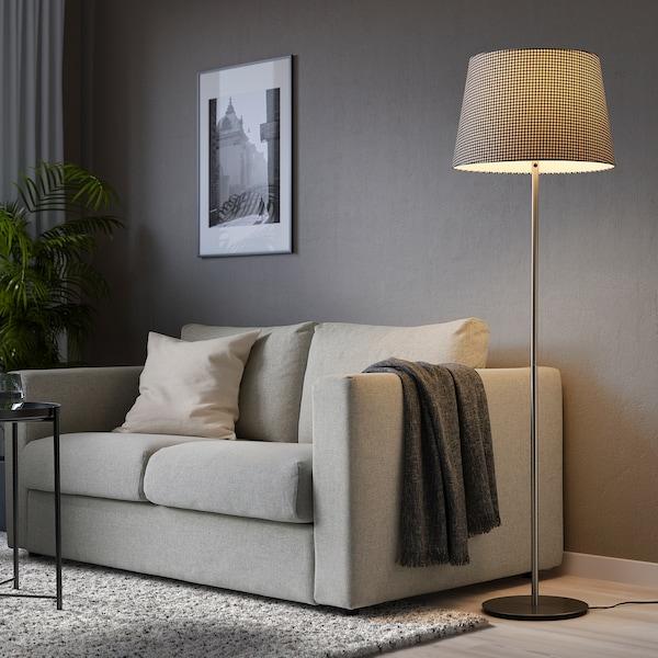 LÅGVIND Lámpaernyő, kockás fekete/bézs, 44 cm