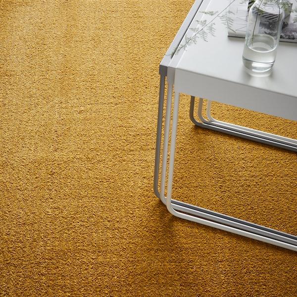 LANGSTED szőnyeg, rövid szálú sárga 195 cm 133 cm 13 mm 2.59 m² 2500 g/m² 1030 g/m² 9 mm