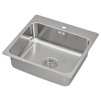 LÅNGUDDEN Egymedencés beépíthető mosogató, rozsdamentes, 56x53 cm
