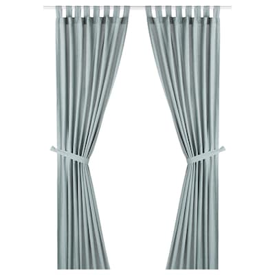 LENDA Függöny elkötővel 1 pár, szürke-türkiz, 140x300 cm