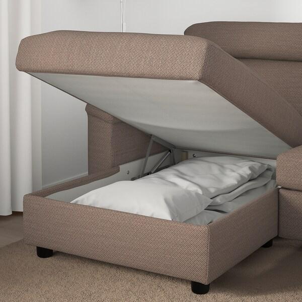 LIDHULT 3 személyes kinyitható kanapé, fekvőfotellel/Lejde bézs/barna